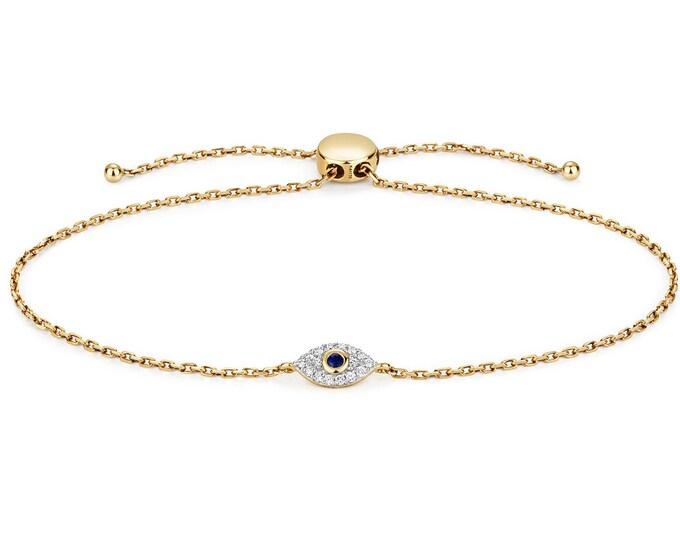 "9K Yellow Gold 0.09ct Diamond &  Blue Sapphire Evil Eye Sliding Toggle 7.5"" Bracelet Hallmarked"
