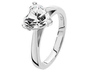 Rhodium Plated 925 Sterling Silver 3 Claw 8mm Solitaire Heart Shaped Cz Engagement Ring