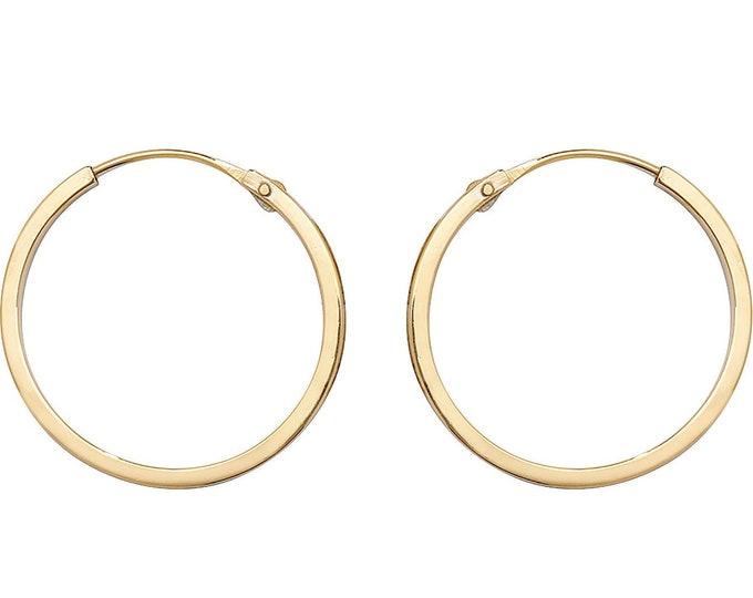 9ct Yellow Gold 14mm Diameter Hinged Threader Sleeper Flat Hoop Earrings - Real 9K Gold