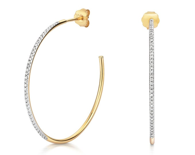 9ct Yellow Gold 28mm Pave Set 0.15ct Diamond Half Hoop Earrings