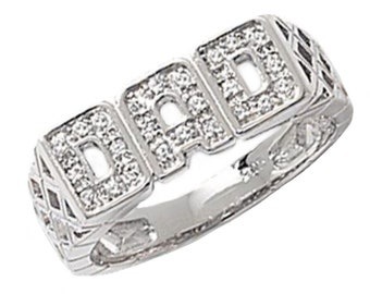 925 Sterling Silver DAD Ring Pave Set Cz With Basket Weave Sides