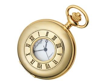 Half Hunter Gold Plated Pocket Watch With Chain & Stand - Personalised Engraved Message