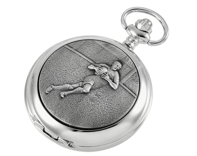 Rugby Personalised Chrome & Pewter Pocket Watch - Customised Engraved Message