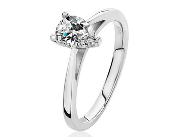 Rhodium Plated 925 Sterling Silver 7x5mm Solitaire Pear Cz Engagement Ring