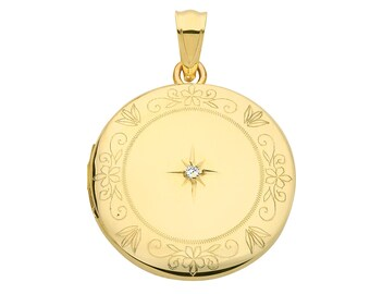 9ct Yellow Gold 20mm Round Shaped 2 Photo Locket Engraved Border With Single Diamond