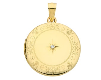 9ct Yellow Gold 20mm Round Shaped 2 Photo Locket Engraved Border With Single Diamond - Real 9K Gold