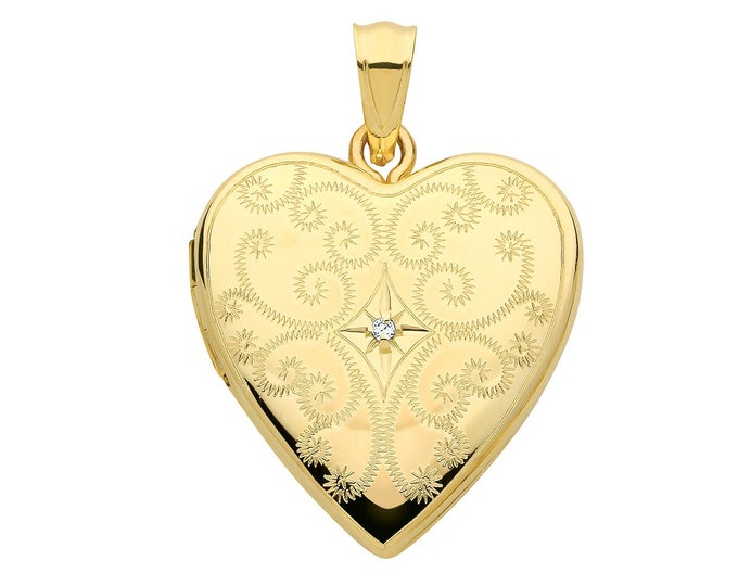 9ct Yellow Gold 20mm Full Engraved 2 Photo Heart Shaped Locket With Single Diamond