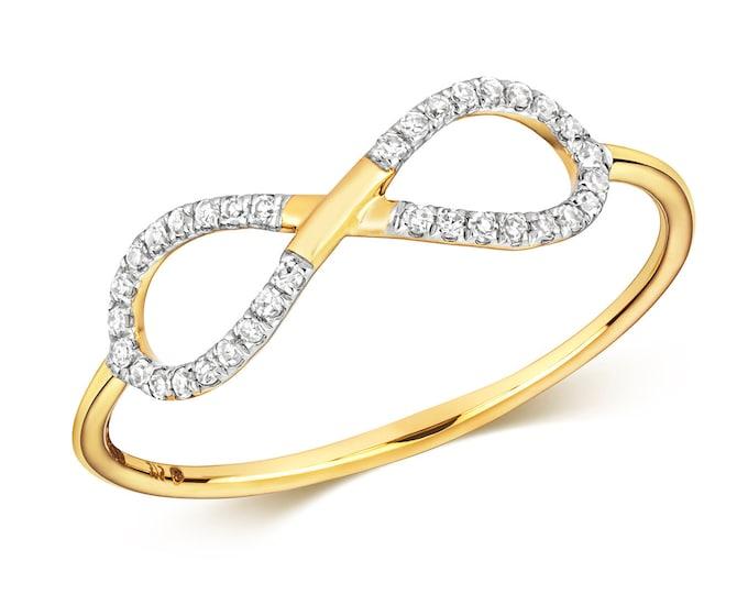 Ladies 9K Yellow Gold 0.10ct Diamond Infinity Ring Hallmarked - Real 9K Gold