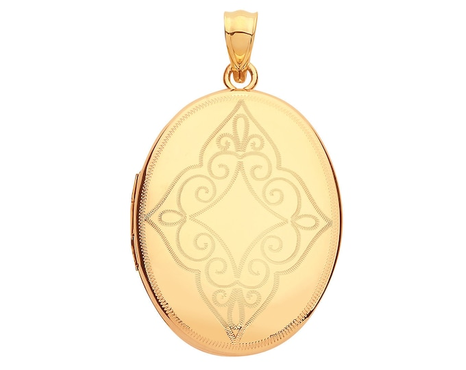 9ct Yellow Gold 25x20mm Oval Shaped Locket Scroll Engraved Pattern