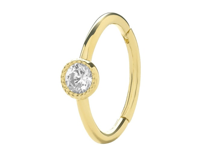 9ct Yellow Gold 8mm Diameter Rubover Cz Hinged Cartilage Single Hoop Earring