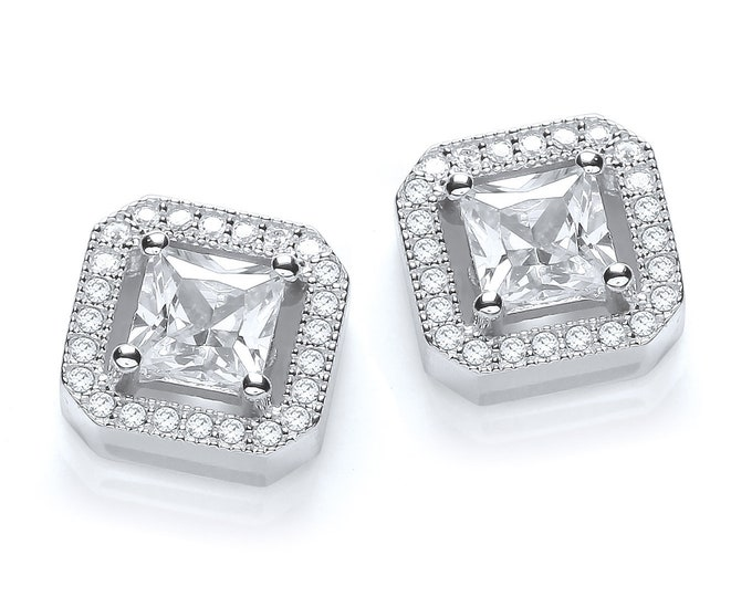 925 Sterling Silver Micro Pave Halo Princess Cz Square Stud Earrings
