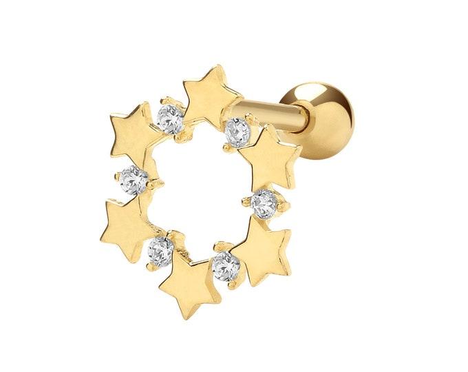 9ct Yellow Gold Cz Star Wreath Helix Cartilage 6mm Bar Single Stud Screw Back Earring