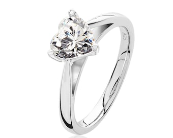 Rhodium Plated 925 Sterling Silver 3 Claw 7mm Solitaire Heart Shaped Cz Engagement Ring