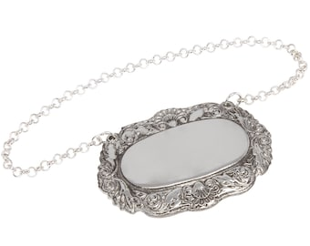 English Pewter Decanter Label- Personalised Engraved Customised Gift