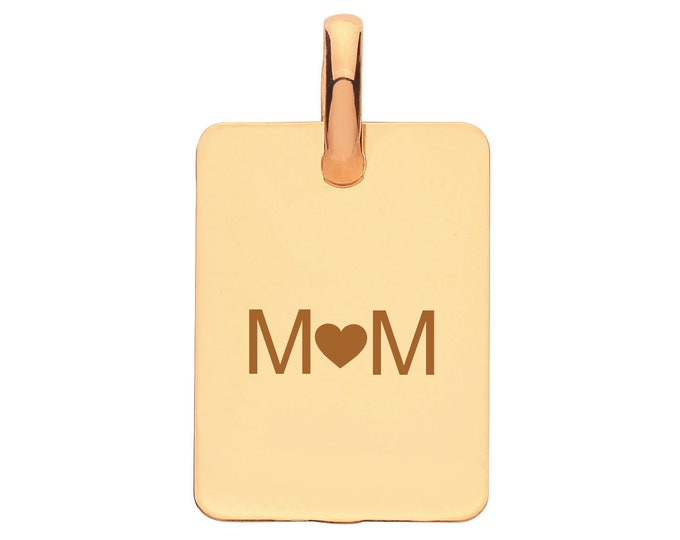 Personalised 9ct Gold 1.4x1cm Rectangular Tag Pendant Hallmarked - Customised Engraved 3 Characters