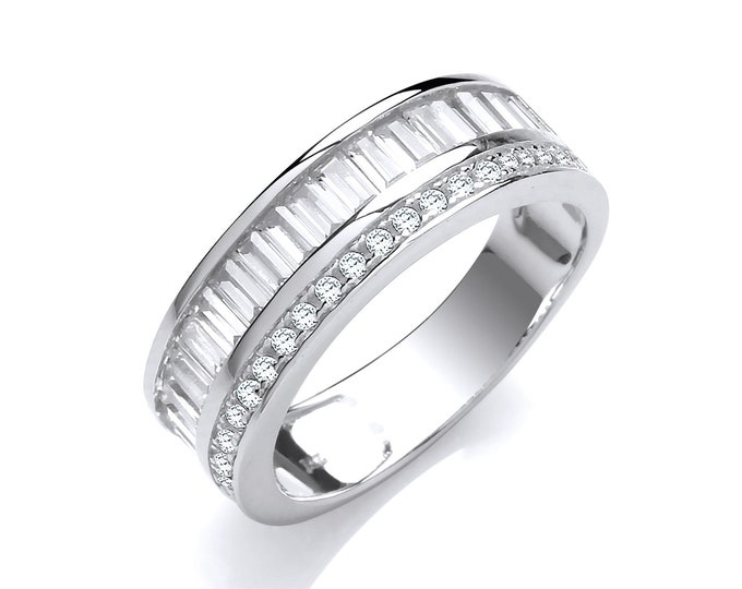 925 Sterling Silver Channel Set Half Eternity Baguette Cut Cz Ring