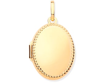 9ct Yellow Gold Oval 2 Photo Millgrain Beaded Edge Oval Locket 25x17mm Hallmarked