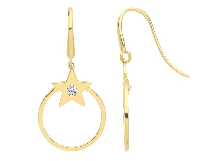 9ct Yellow Gold Cz Star 10mm Circle Hook Drop Earrings - Real 9K Gold