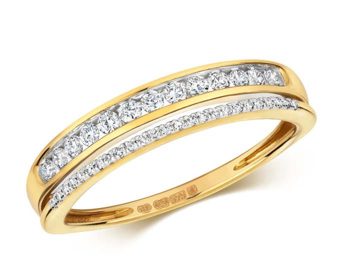 9ct Gold Split Eternity Ring Channel & Claw Set 0.25ct Diamond Bands - Real 9K Gold