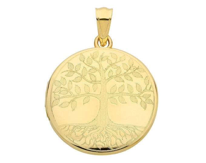 9ct Yellow Gold 20mm Round Shaped 2 Photo Tree of Life Engraved Locket Hallmarked