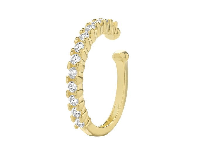 9ct Yellow Gold Half Claw Set Cz 7mm Cartilage Cuff Single Hoop Earring