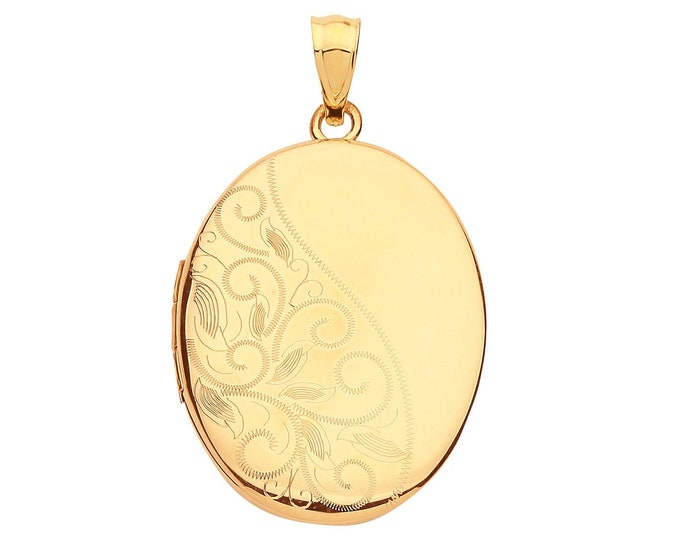 9ct Yellow Gold 25x20mm Oval Shaped Locket Half Engraved Pattern