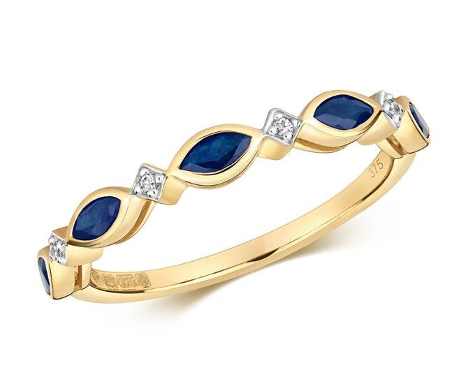 9ct Yellow Gold 1.5mm Marquise Blue Sapphire & Diamond Wreath Eternity Ring Hallmarked