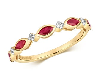 9ct Yellow Gold 1.5mm Marquise Red Ruby & Diamond Wreath Eternity Ring Hallmarked - Real 9K Gold