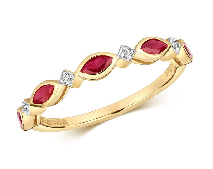 9ct Yellow Gold 1.5mm Marquise Red Ruby & Diamond Wreath Eternity Ring Hallmarked