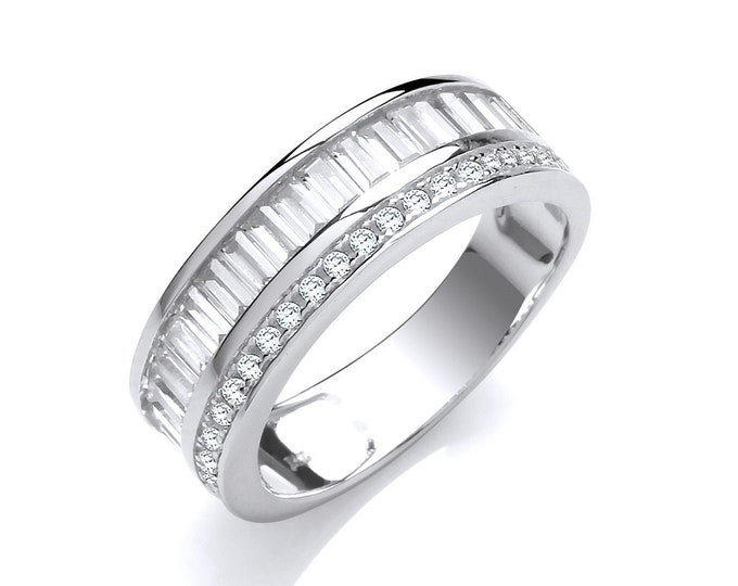 925 Sterling Silver Channel Set Baguette & Round Cz Half Eternity 6mm Band Ring