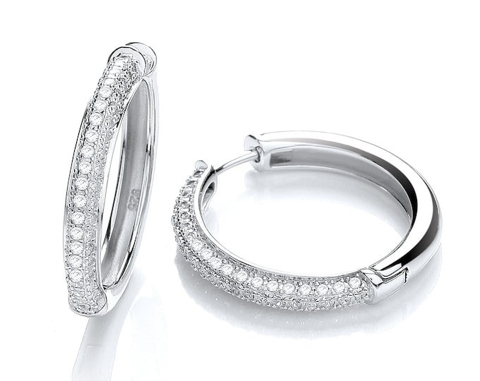 925 Sterling Silver 23mm Micro Pave Cz Hinged Hoop Earrings