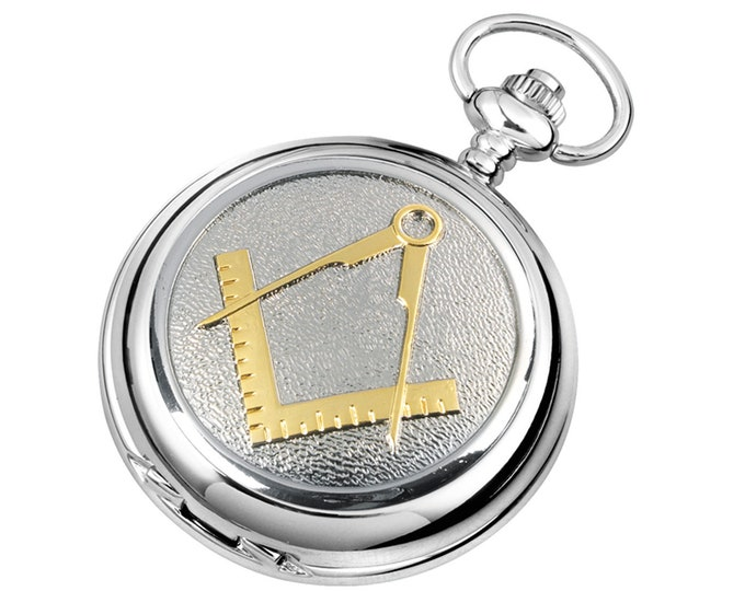 Masonic Personalised Chrome & Pewter Pocket Watch - Customised Engraved Message