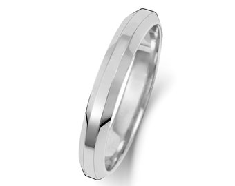 9ct White Gold Bevelled Edge Soft Court Wedding Ring Hallmarked Widths 3mm-6mm Sizes J-Z