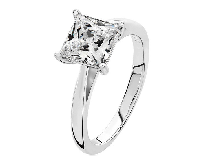 Rhodium Plated 925 Sterling Silver Claw Set 7mm Solitaire Princess Cz Engagement Ring