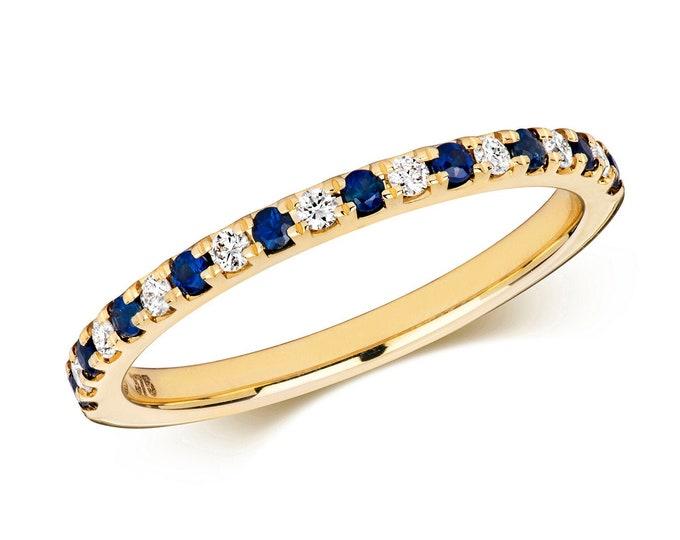 9ct Yellow Gold 1.5mm Claw Set 0.17ct Diamond & Blue Sapphire Half Eternity Ring Hallmarked - Solid 9K Gold