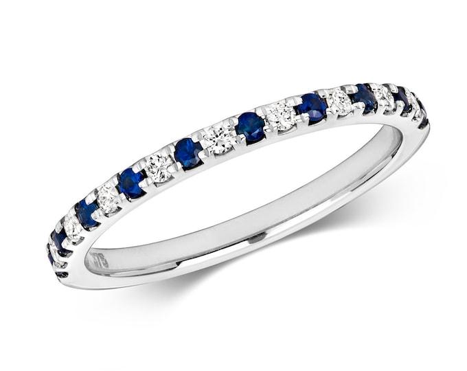 9ct White Gold 1.5mm Claw Set 0.17ct Diamond & Blue Sapphire Half Eternity Ring Hallmarked