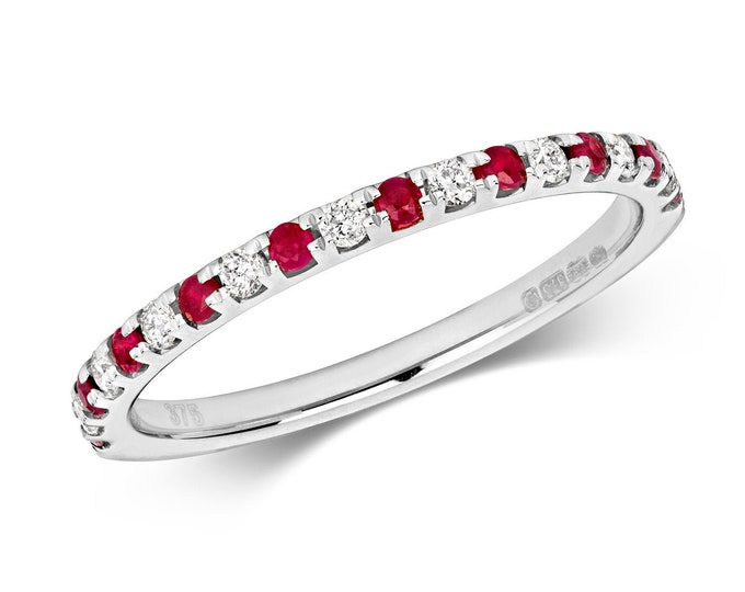 9ct White Gold 1.5mm Claw Set 0.17ct Diamond & Ruby Half Eternity Ring Hallmarked - Solid 9K Gold