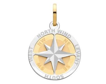 9ct 2 Colour Gold 1.8cm Diameter Compass Rose Design Pendant Hallmarked