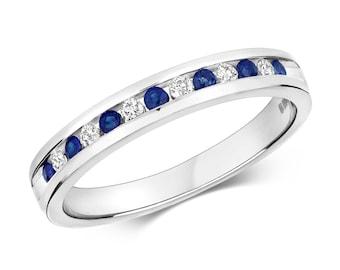 9ct White Gold 2mm Channel Set 0.12ct Diamond & Blue Sapphire Half Eternity Ring Hallmarked - Real 9K Gold