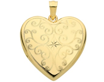 9ct Yellow Gold 24mm Full Engraved 2 Photo Heart Shaped Locket Hallmarked
