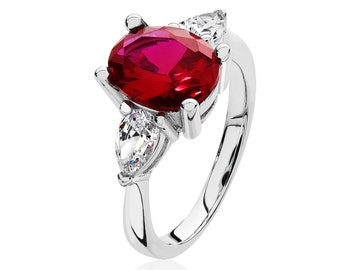 925 Sterling Silver 3 Stone 10x8mm Red Cz Oval & 6x4mm Pear Cz Engagement Ring