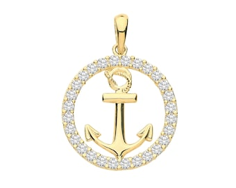 9ct Yellow Gold Nautical Anchor Cz Surround Charm Pendant - Real 9K Gold