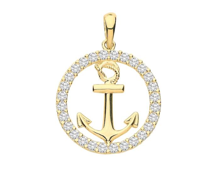 9ct Yellow Gold Nautical Anchor Cz Surround Charm Pendant