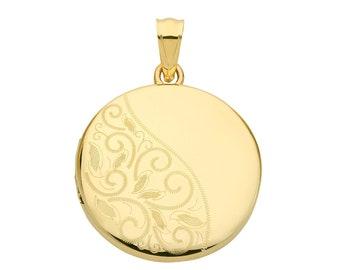 9ct Yellow Gold 20mm Round Shaped 2 Photo Half Engraved Locket Hallmarked - Real 9K Gold