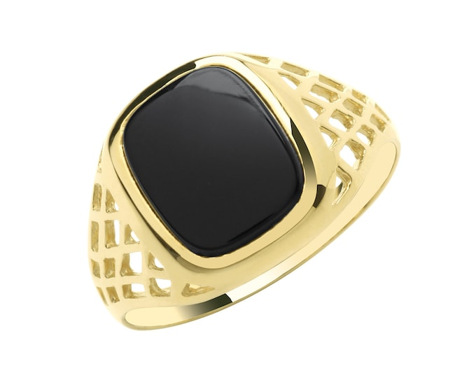 Men's 9ct Yellow Gold 12x9mm Cushion Shaped Black Onyx Signet Ring With Basket Weave Sides - Real 9K Gold