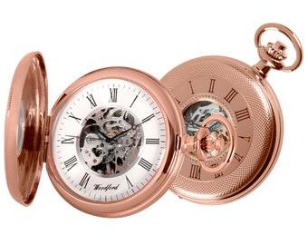 Rose Gold Plated 17 Jewel Mechanical Skeleton Half Hunter Pocket Watch - Personalised Engraved Message