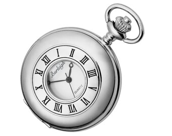 Half Hunter Stainless Steel Pocket Watch With Chain & Stand - Personalised Engraved Message