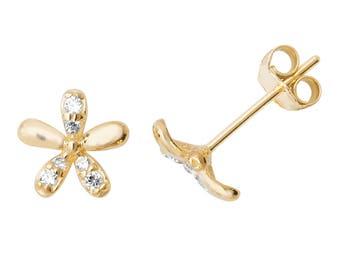 9ct Yellow Gold Pretty Cz Daisy Flower Stud Earrings 6mm Diameter- Real 9K Gold