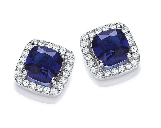 Rhodium Plated Sterling Silver Blue Sapphire Cz 9mm Princess Cluster Stud Earrings