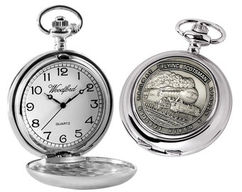 Flying Scotsman Chrome Plated Full Hunter Quartz Pocket Watch - Personalised Engraved Message